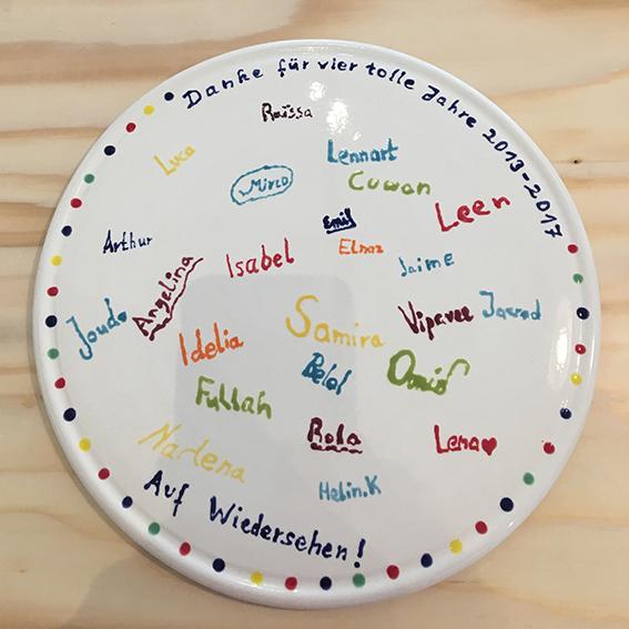 Erinnerungen, Abschiedsgeschenk auf Keramik